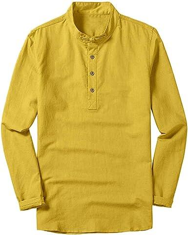 Sylar Hombre Camisa Manga Larga Slim Fit Casual Camisas De Hombre Cuello Mao Camisetas De Color Sólido Manga Larga para Otoño Camisas De Hombre De Vestir Top De Blusa Hombre: Amazon.es: Ropa