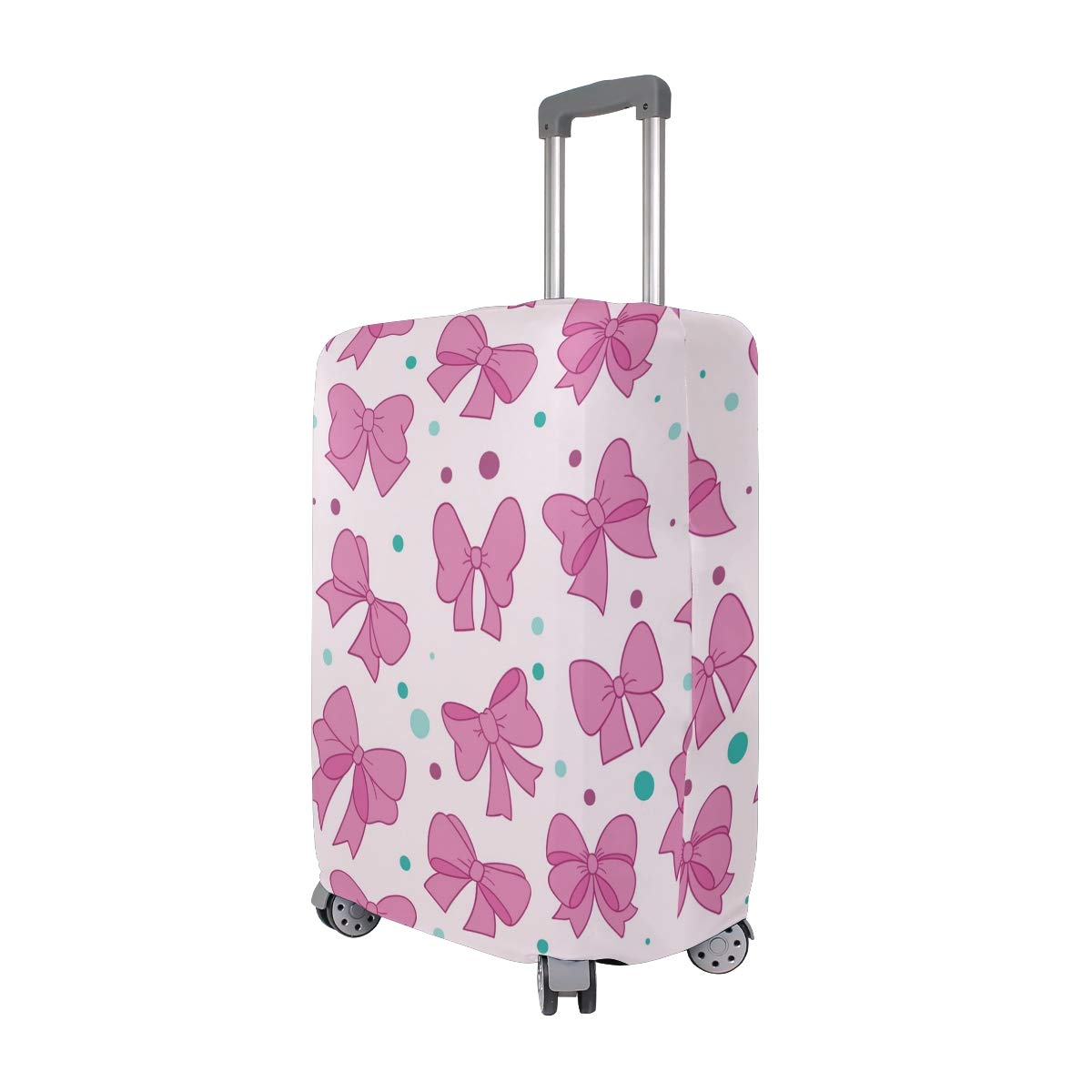 Baggage Covers Pink Bows Pattern Girls Romantic Washable Protective Case