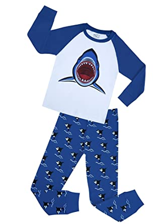 Boys Cotton Pajamas Shark 2 Pcs Clothes Set Christmas Pyjama Children PJ Suit (Blue,