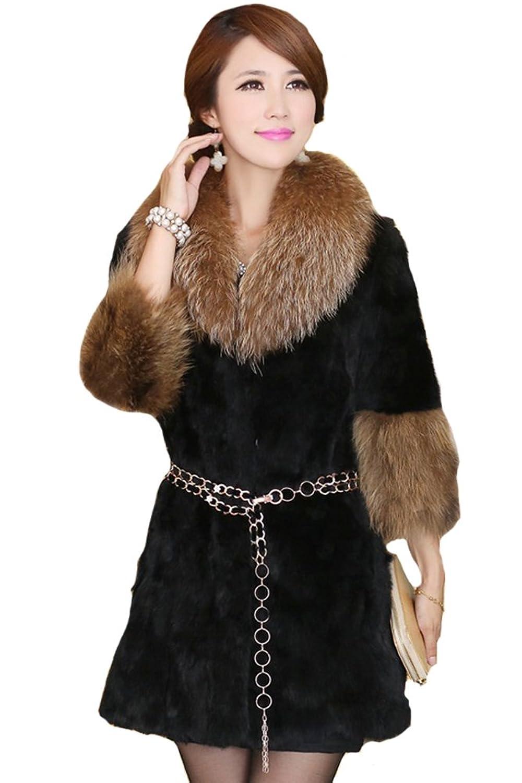 queenshiny Damen 100% Echte Kaninchen Pelz Lang Mantel Jacke Mit Waschbär Pelz Kragen Winter