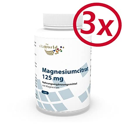 Pack de 3 Citrato de magnesio 125mg 3 x 120 Cápsulas Vita World Farmacia Alemania