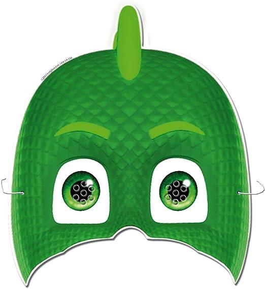 PJ Masks 0481, Pack Invitados Fiestas y Cumpleaños, 6 caretas, 6 Conos para chuches, 6 Invitaciones con sobre