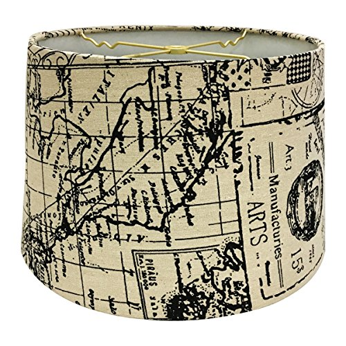 Royal Designs Linen Cream and Black Vintage Map Postcard Hardback Lamp Shade, 11 x 12 x 8.5 (World Map Lamp Shade)