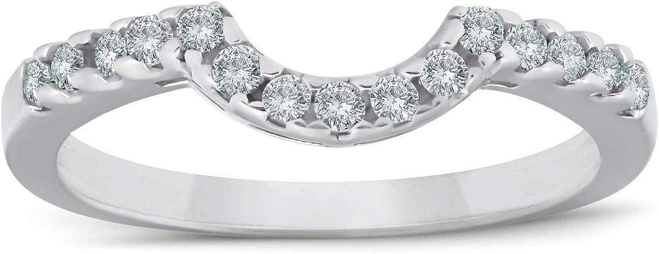 1/4ct Curved Diamond Notched Wedding Ring Enhancer 14K White Gold