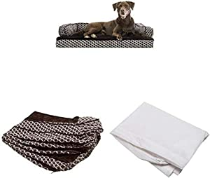 Furhaven Pet Bundle - Large Diamond Brown Orthopedic Plush Faux Fur & Décor Comfy Couch Sofa, Extra Dog Bed Cover, Water-Resistant Mattress Liner for Dogs & Cats