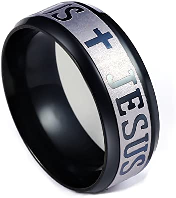 Stainless Steel Gold//Silver Jesus Cross Titanium Ring Mens Jewelry Gift Size7-13