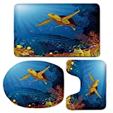 3 Piece Bath Mat Rug Set,Ocean-Decor,Bathroom Non-Slip Floor Mat,Colored-Coral-Reef-with-Silhouette-School-of-Fish-and-Turtle-Underwater-Nature-Art,Pedestal Rug + Lid Toilet Cover + Bath Mat,Yellow-Or