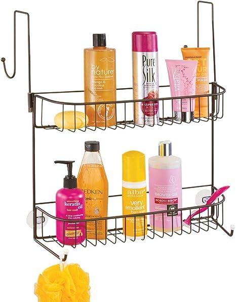 mDesign Estanterías de baño para colgar – Práctico colgador de ducha sin taladro – Estantes para baño de metal con dos anchas cestas metálicas y ganchos – color bronce: Amazon.es: Hogar