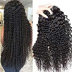 Malaysian Deep Wave Curly Virgin hair 3 Bundles Wet and Wavy 100% Unprocessed Human Hair Weave Weft Extensions 95-105g/pc Natural Black Color 10 12 14inch