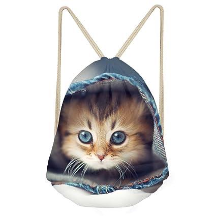 showudesigns personalizada Diseño Animal Cordón Mochila Hombres Mujeres Cinch gimnasio bolsas, Infantil, gato,