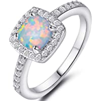 Jude Jewelers Princess Cut Created Fire Opal Engagement Ring