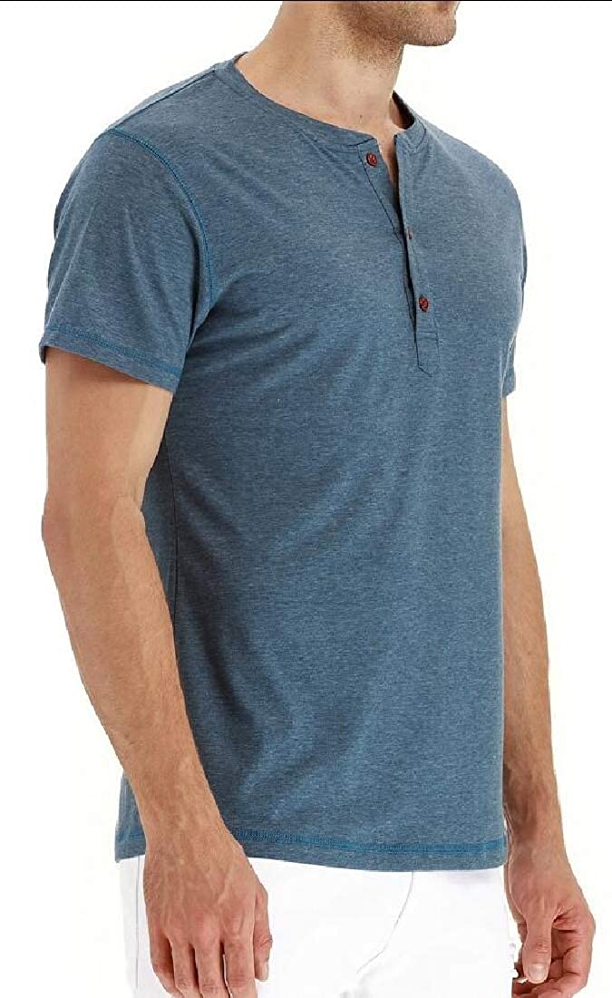 Alion Mens Henley Cotton Casual Short Sleeve Lightweight Tee Tops T-Shirts