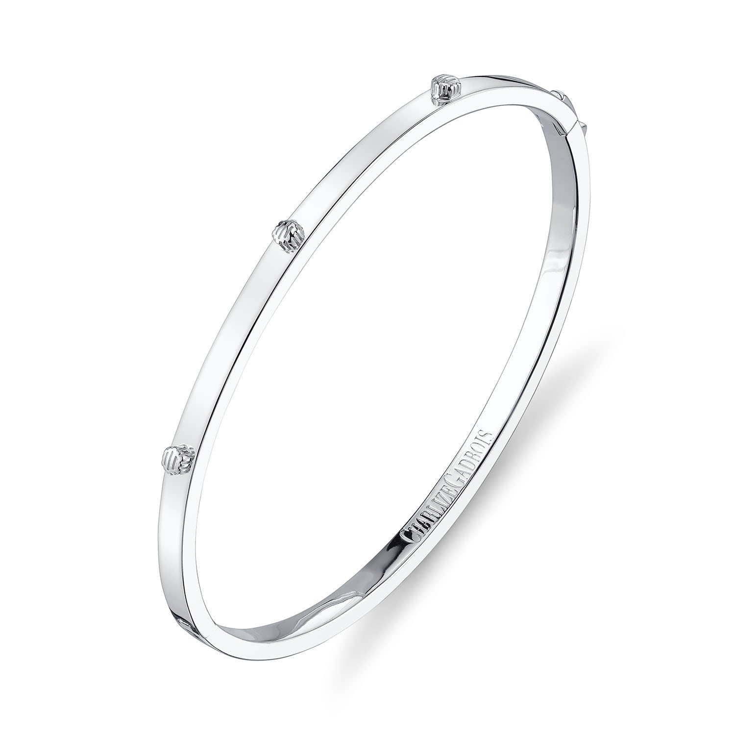 CHARLIZE GADBOIS 925 Sterling Silver Thin Hexagon Strie Bangle Bracelet, White Rhodium