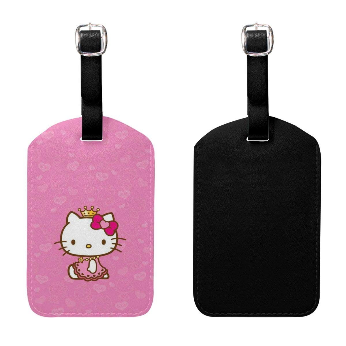 Set of 2 PU Leather Luggage Tags Queen Hello Kitty Suitcase Labels Bag Adjustable Leather Strap Travel Accessories