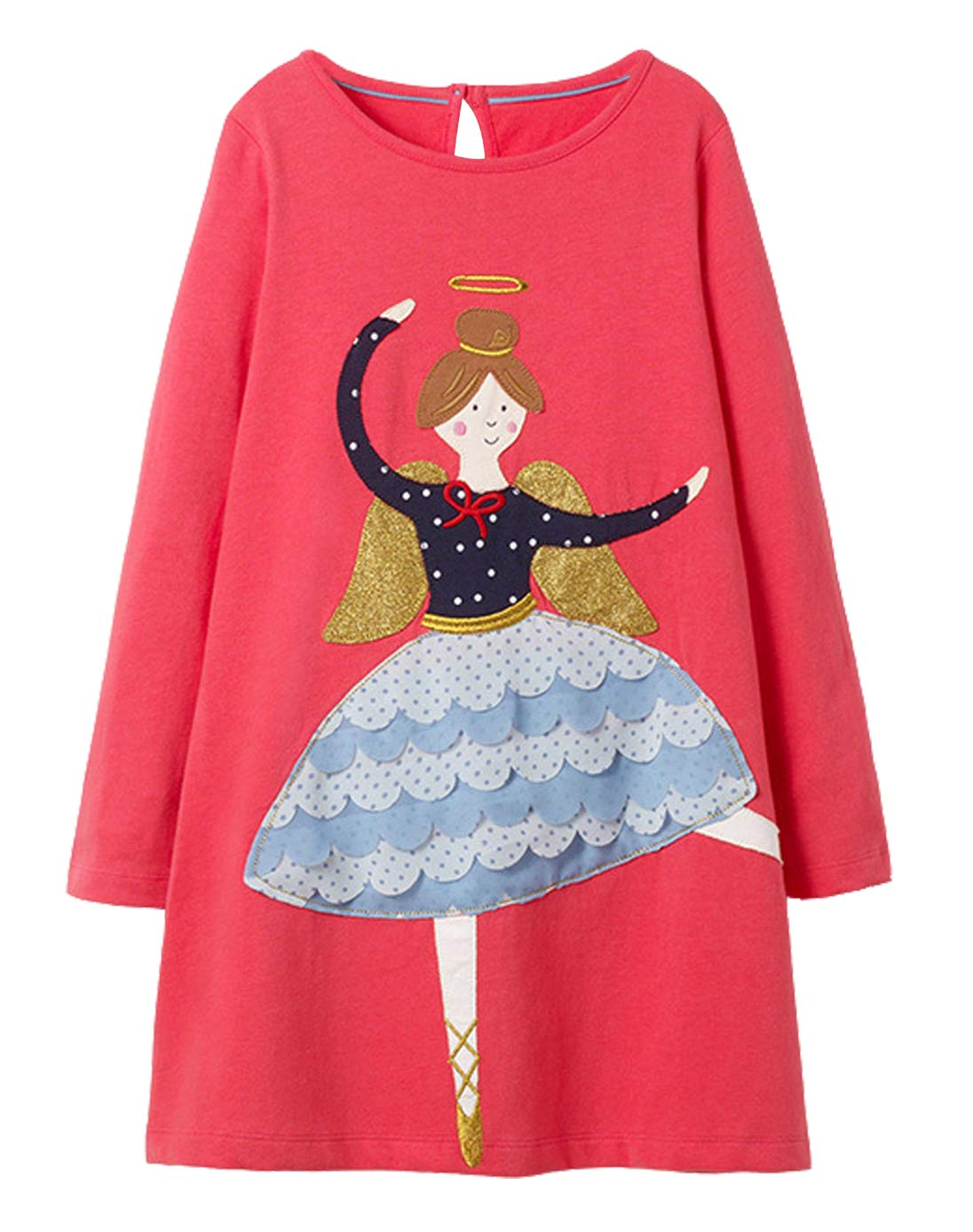 Fiream Girls Cotton Longsleeve Party Dresses Special Occasion Cartoon Print by(1101,7T/7-8YRS)