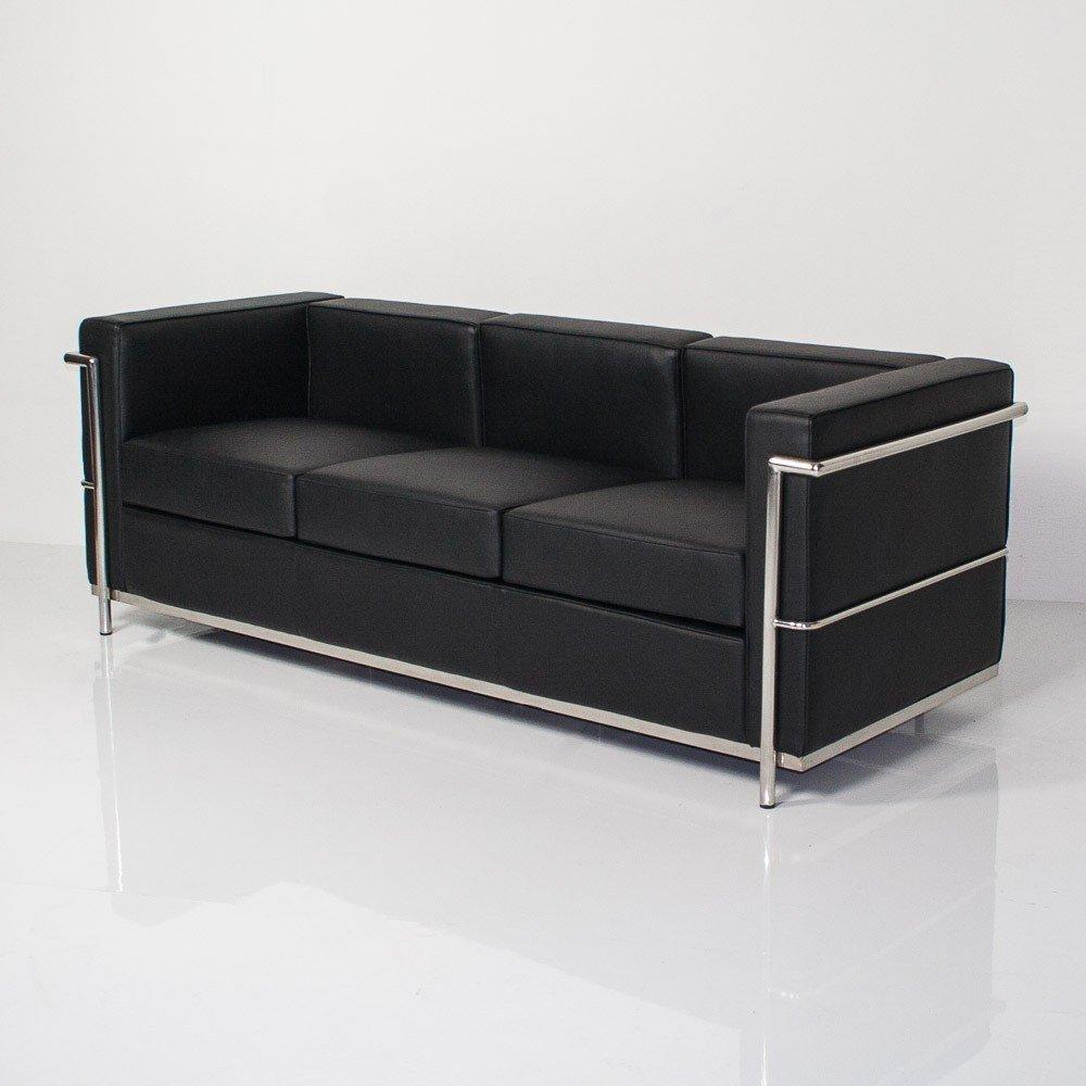 Group diseño sofá Cubo Negro de Piel sintética y Metal ...