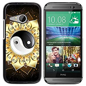 LECELL -- Funda protectora / Cubierta / Piel For HTC ONE MINI 2 / M8 MINI -- Ying Yang Floral Sign --