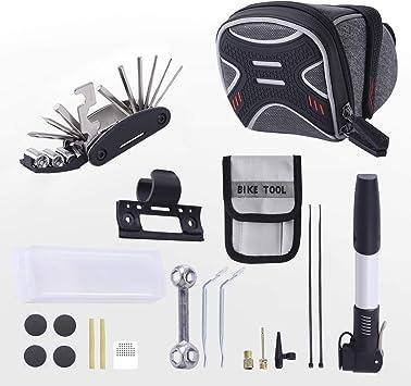 3-H Bolsa de Sillín para Bicicleta con Herramientas Multifuncional, Ideal Bolsas de Ciclismo y Kits de Reparación para Bicicletas de Montaña,Minibomba de Bicicleta (Gris): Amazon.es: Deportes y aire libre