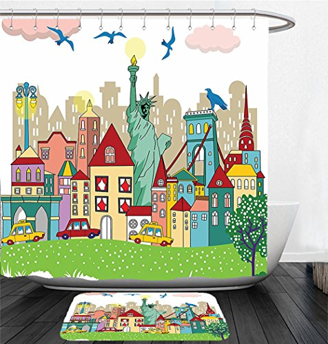 Nalahome Bath Suit: Showercurtain Bathrug Bathtowel Handtowel USA Decor Urban Theme New York City Statue of Liberty Birds and Buildings Illustration - Macy New York City