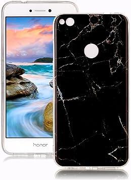 Negro Dise/ño M/ármol Carcasa Suave Goma Silicona Soft Marble Case Suitable for Huawei P8 Lite 2017 Yunbaoz Funda Compatible para Huawei P8 Lite 2017 M/ármol