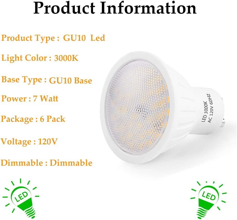 GU10 LED Bulbs 700Lms 120V Dimmable Natural White 4000K 120 Degree Beam 7W Equivalent 60W Halogen Bulbs 6 Pack Track Light and Recessed Light