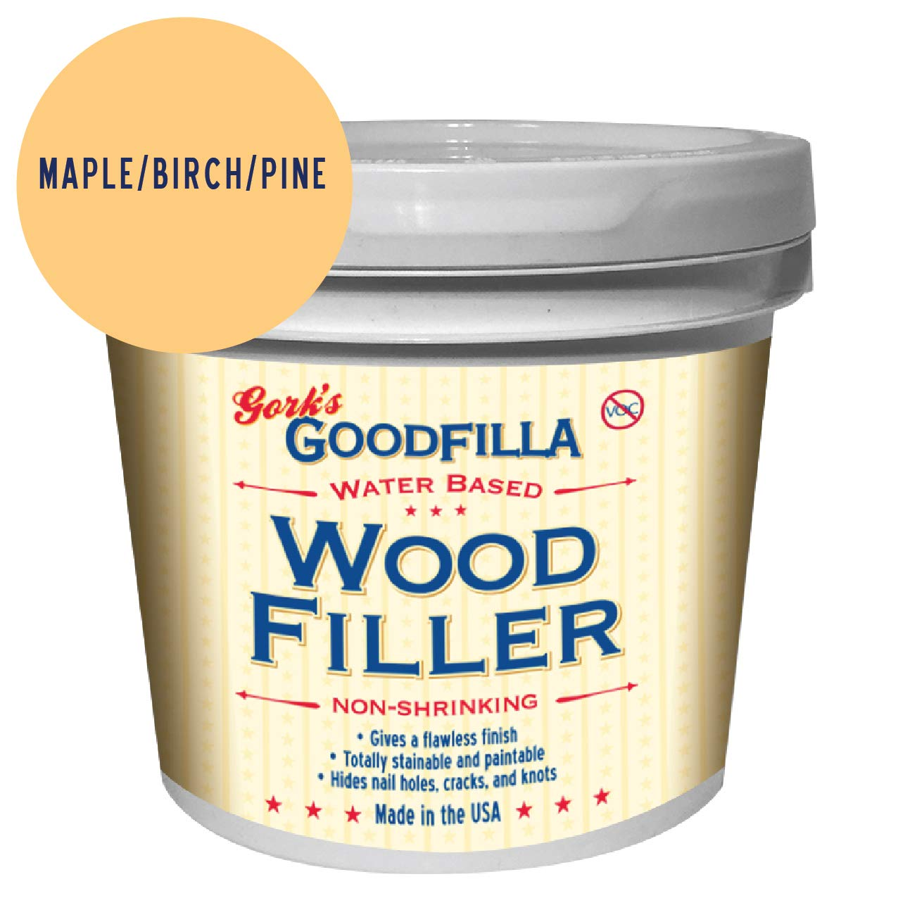Water-Based Wood & Grain Filler - Maple/Birch/Pine - 1 Gallon by Goodfilla | Replace Every Filler & Putty | Repairs, Finishes & Patches | Paintable, Stainable, Sandable & Quick Drying