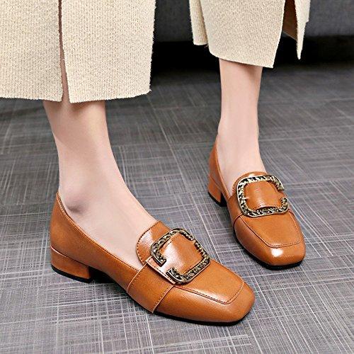 HRCxue Frauen Schuhe retro square Haken einzelne Schuhe Frauen Schuhe dick mit Qualität und vielseitige Schuhe 36
