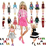 15 items = Barwa Random Style 5 Sets Fashion Casual Wear Clothes/outfit with 10 Pair Shoes for Barbie Doll Xmas Gift