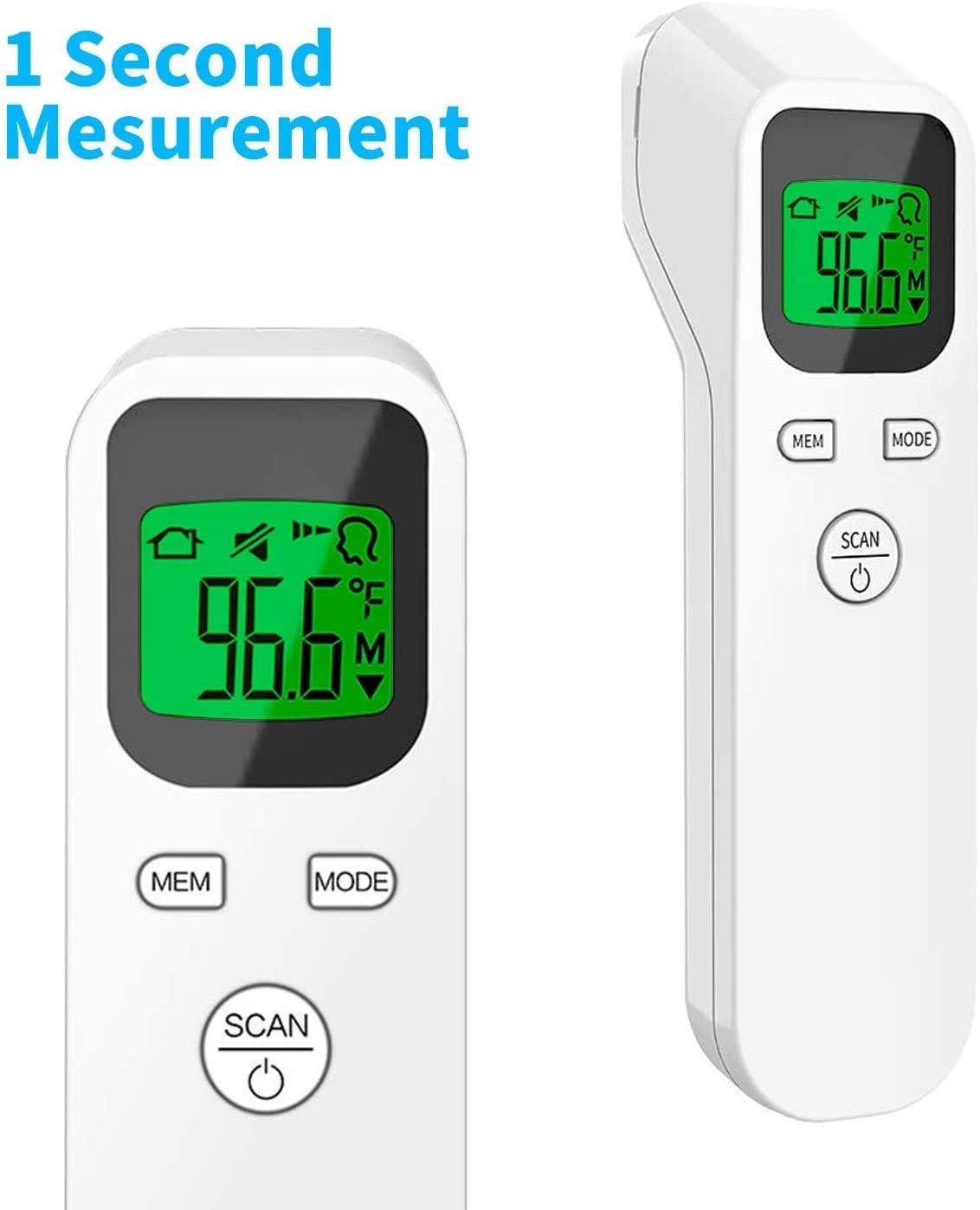 Thermom/ètre Num/érique Thermometre Frontal Infrarouge Thermom/ètres Thermometre Frontal avec Affichage /à LED Thermom/ètre pour B/éb/é (Sans batterie)