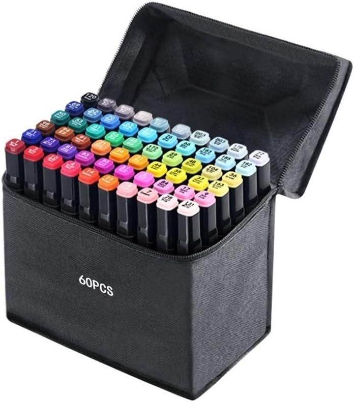 黒のバッグと黒のグラフィックマーカーペンアニメーションデザインインテリアデザインや学生のアルコール系インクツインヘッド広範かつ細かい点のヒント クリーンカラー (Size : 60 colour)