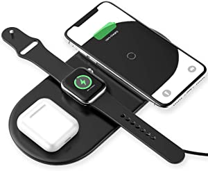 Baseus Wireless Charger, 3 in 1 Wireless Charging Station for Apple Watch, AirPods Pro and iPhone 11 Pro Max Xs XR X 8 8Plus (NO QC 3.0 Adapter)