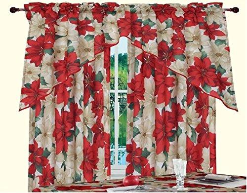 Violet Linen Decorative Christmas Printed Poinsettia Floral Design 3 Piece Kitchen Curtain Set,