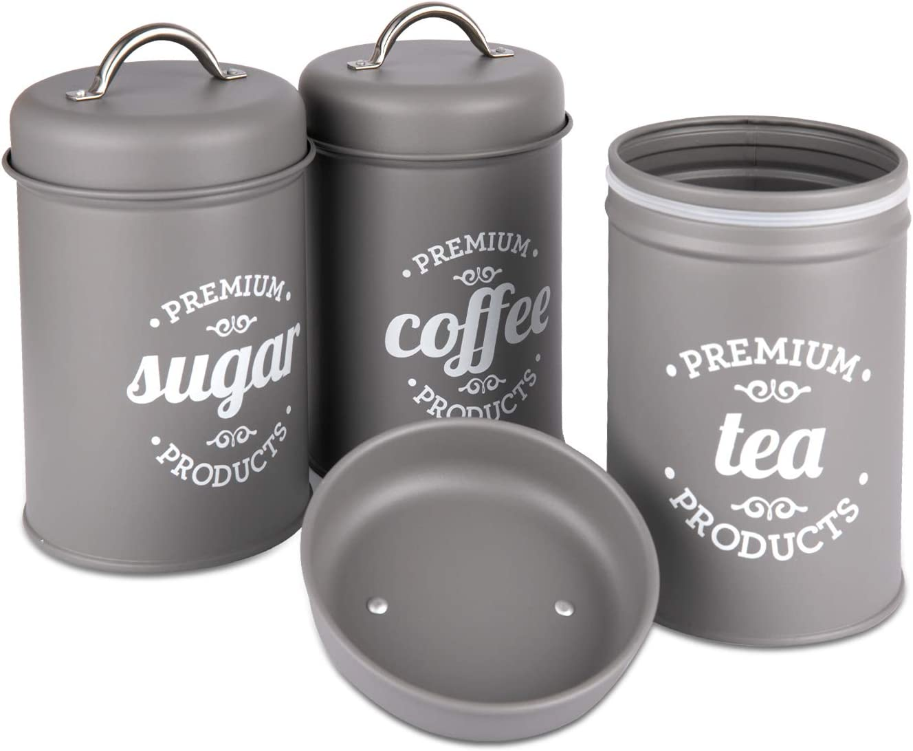 PILITO Set of 3 Airtight Kitchen Canister Decorations with Lids, Metal Rustic Farmhouse Country Decor Containers for Sugar Coffee Tea Storage (Gray)