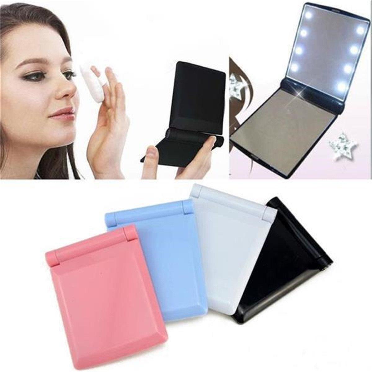Nicewave portatile illuminato specchio pieghevole compatto trucco specchio tascabile con luci LED Hilai