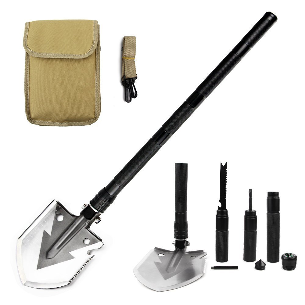 BATTOP Military Portable Folding Shovel-Multi Purpose Steel Spade Outdoor Survive Equipment Camping,Hunting,Fishing,Gardening,Army Entrenching,Car Emergency (Black)