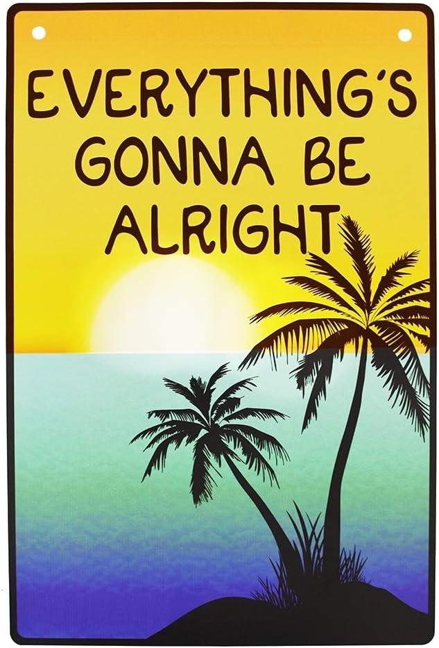 TG,LLC Treasure Gurus Everything's Gonna Be Alright Tropical Beach Tiki Bar Sign Inspirational Home Wall Decor