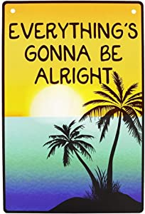 TG,LLC Treasure Gurus Everything's Gonna Be Alright Tropical Beach Tiki Bar Sign Inspirational Home Wall Decor