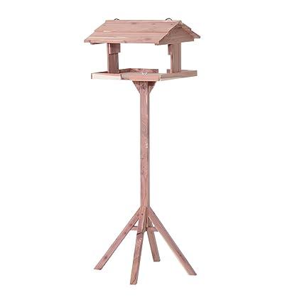 Pawhut - Comedero con cuatro pies - Caseta de madera de pino para pájaros con soporte