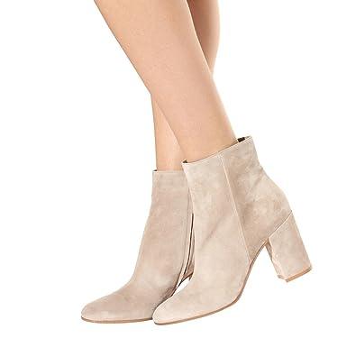 1e124c60aa30 FSJ Women Almond Toe Zipper Chunky Block Heel Handmade Ankle Booties  Elegant Dress Boots Size 4