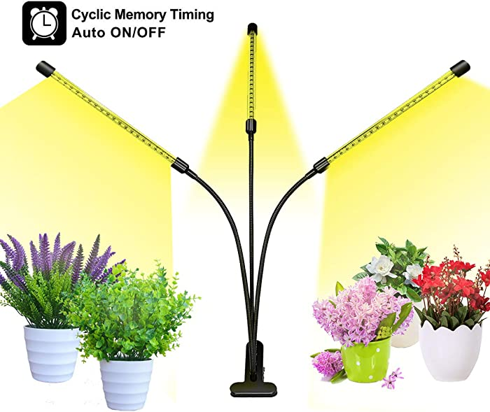 Bseah Grow Light, Plant Lights for Indoor Plants, Auto ON&Off Full Spectrum Plant Lights with 3/9/12H Timer, 10 Dimmable Lightness Clip-On Desk Led Plant Growing Lamps (with AC Adapter)