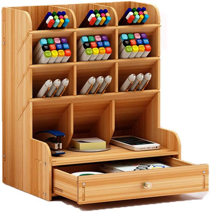 Dongxing Wood Desktop Organizer with Closing Door, Desktop Stationary, Home Office Supply Storage Rack with Drawer