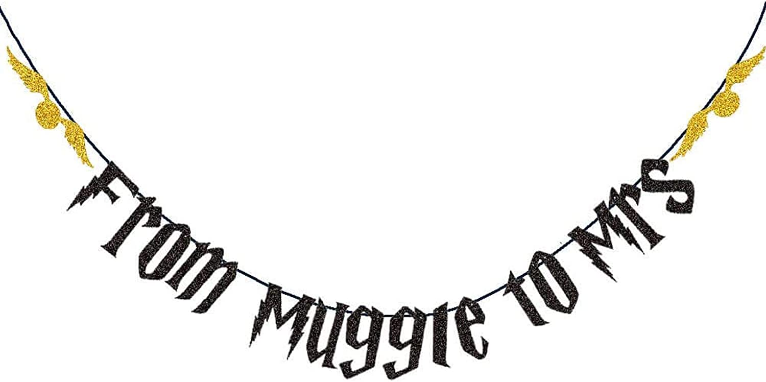 From Muggle to Mrs Banner, Harry Potter Bachelorette Banner, Magic Harry Potter Golden Snitch Bridal Shower Engagement Bachelorette Wedding Party Supplies Decorations Photo Booth Props