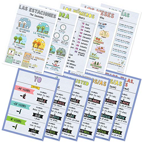 Spanish Verbs & Beginner Vocabulary Classroom Variety Posters, Set of 11, 12 x 18 inches (Set B)]()