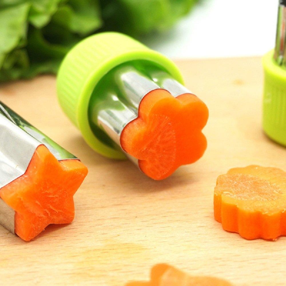 9 piezas en acero inoxidable verduras y frutas forma cortadores, Kid alimentos molde Mini Cute Cookie Cutters: Amazon.es: Hogar
