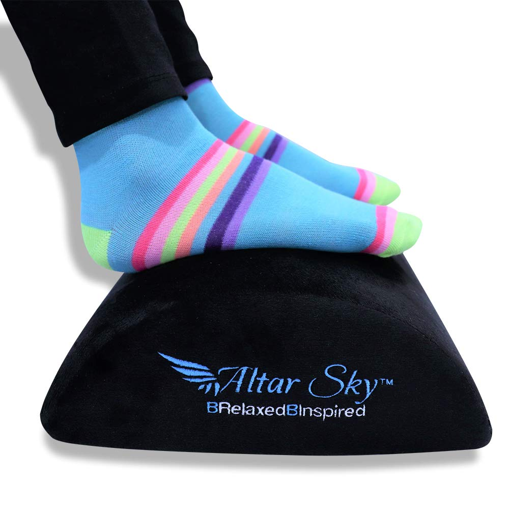 AltarSky Foot Rest Cushion: Ergonomic Foam Footrest: Soft, Comfy, Firm, Black, Non-Slip, Low for Under Desk Leg Clearance: Excellent to Support Your Feet at Work Office or Home by AltarSky