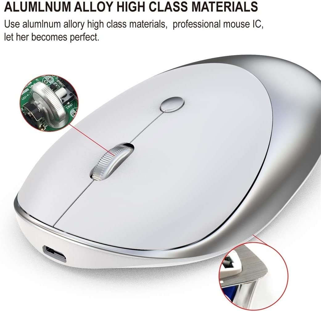 Silver Color : Silver T36 2.4G Bluetooth 5.0+3.0 Three-Mode Silent Design Wireless Bluetooth Mouse