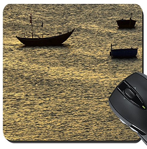 Ne Villages (MSD Suqare Mousepad 8x8 Inch Mouse Pads/Mat design: 30390505 fisherman padding the traditional boat at village of Mui Ne Vietnam)