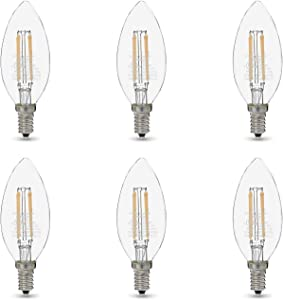 AmazonBasics 60W Equivalent, Clear, Soft White, Dimmable, 15,000 Hour Lifetime, B11 (E12 Candelabra Base) LED Light Bulb | 6-Pack