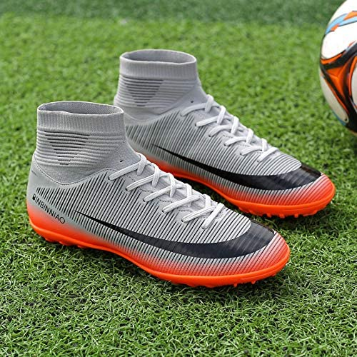 8.5 M US=EUR//40, Grey Binbinniao CR Indoor TF Turf Cleats Boys High Tops Ankle Boots Women Turf Messi Outdoor Soccer Shoes Men Size 11