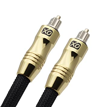 XO 1m Ultra High Resolution Professional Digital Optical Black TOSlink Gold Cable - 24k Gold Casing
